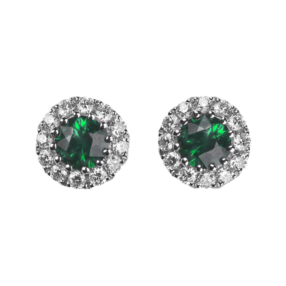 eternity halo stud and green white uk earrings silver sapphire gold emerald