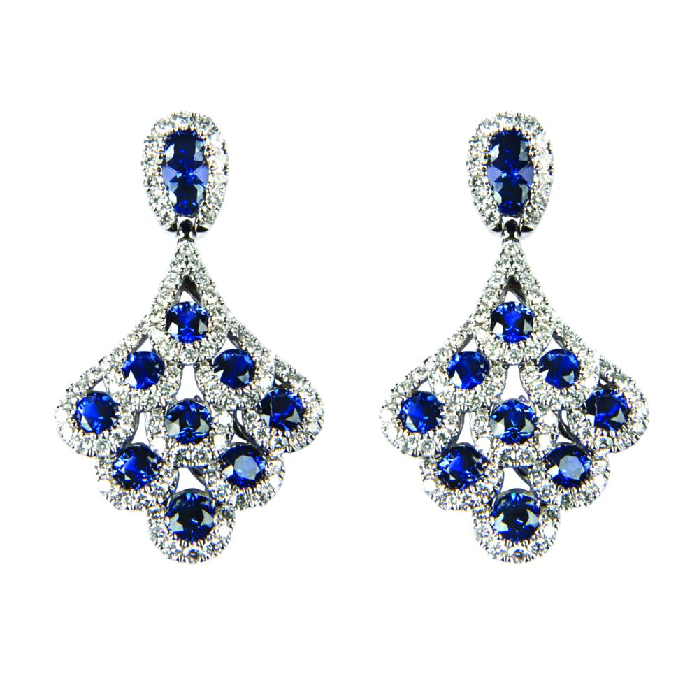 Diamond and Sapphire drop earrings ref lge109