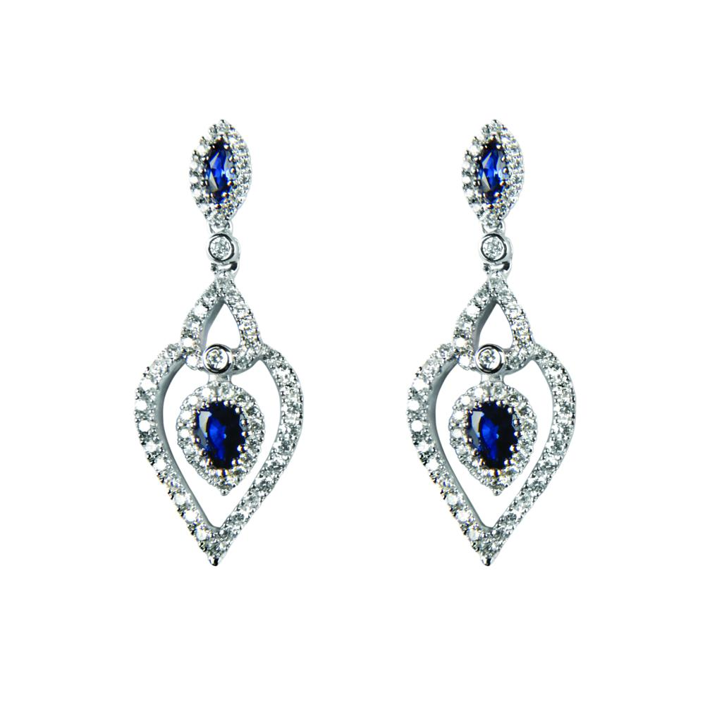 Diamond and Sapphire drop earrings ref lge111
