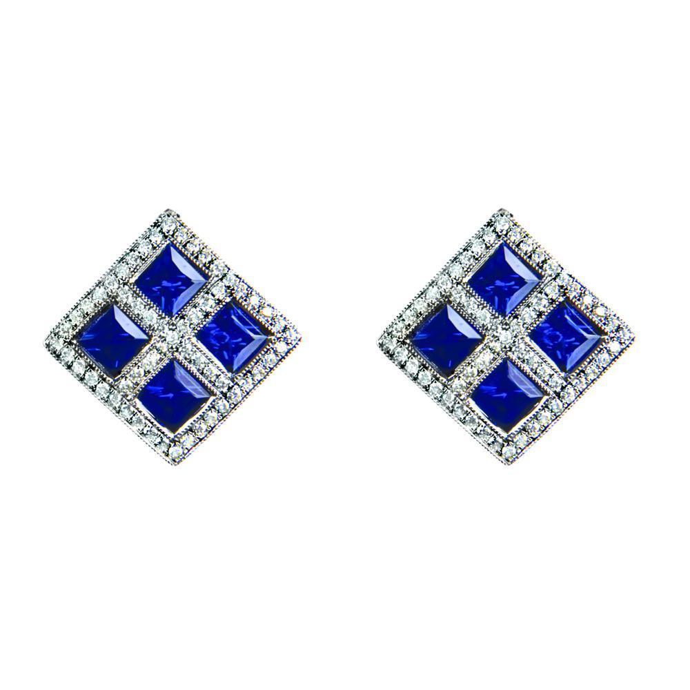 Diamond And Sapphire Stud Earrings Ref Lge112